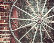 Vintage Wagon Framed Prints - The Wheel and the Ivy Framed Print by Lisa Russo