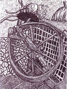 Wheel Drawings - The Wheel by Cecelia Taylor-Hunt