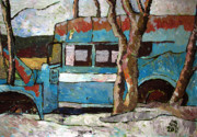 David Hochney Prints Painting Posters - The Wheels Of The Bus Stopped Poster by Charlie Spear