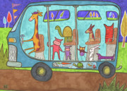 Pig Drawings - The Wheels on the Bus  by Kate Cosgrove