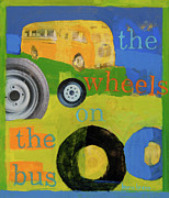 Kids Room Mixed Media Posters - The Wheels On The Bus Poster by Laurie Breen