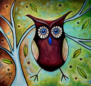 Jewel Tone Paintings - The Whimsical Owl by Elizabeth Robinette Tyndall
