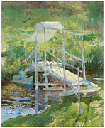 Fine American Art Posters - The White Bridge Poster by John Henry Twachtman