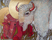 Buffalo Mixed Media Framed Prints - The White Buffalo and the Red Framed Print by Lynnette Shelley