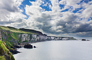 Carrick-a-rede Posters - The White Cliffs of Carrick A Rede Poster by Semmick Photo
