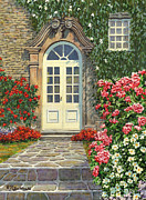 Stone Walkway Framed Prints - The White Door Framed Print by Richard De Wolfe