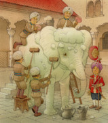Wash Drawings Framed Prints - The White Elephant 02 Framed Print by Kestutis Kasparavicius