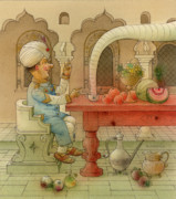 Breakfast Drawings Prints - The White Elephant 04 Print by Kestutis Kasparavicius