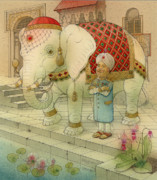 Good Luck Drawings Posters - The White Elephant 05 Poster by Kestutis Kasparavicius