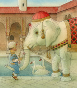 Good Luck Drawings Posters - The White Elephant 07 Poster by Kestutis Kasparavicius
