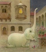 Elephant Drawings Framed Prints - The White Elephant 09 Framed Print by Kestutis Kasparavicius