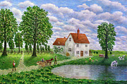 Countrylife Prints - The White Farm Print by Ronald Haber