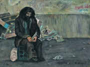 Homeless Painting Posters - The White Feather Poster by Alan Schwartz