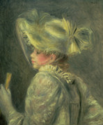 Fan Painting Metal Prints - The White Hat Metal Print by Pierre Auguste Renoir
