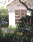 Pink Flower Prints Painting Prints - The White House Print by Linda Jacobus