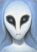Alien Eyes Prints - The White Owl Print by Amy S Turner