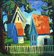 Shadows Paintings - The White Picket Fence by Charlie Spear