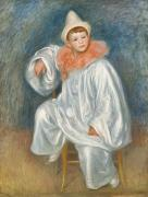 Clown Hat Prints - The White Pierrot Print by Pierre Auguste Renoir