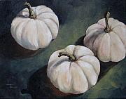 Pumpkin Paintings - The White Pumpkins by Torrie Smiley