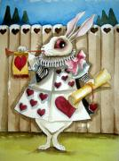 Alice In Wonderland Painting Metal Prints - The White Rabbit Metal Print by Lucia Stewart