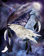 Catcher Mixed Media Posters - The White Raven Poster by Carol Cavalaris