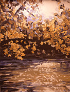 Indiana Autumn Painting Prints - The White River in October Print by Addie May Hirschten