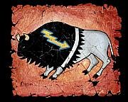 National Park Mixed Media Posters - The White Sacred Buffalo fresco Poster by OLena Art