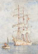 Sailing Painting Posters - The White Ship Poster by Henry Scott Tuke
