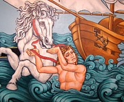 At Poster Mixed Media Prints - The White Stallion - Art Deco Print by Gunter  Hortz