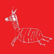 Baby Donkey Drawings Framed Prints - The white Zebra on red background Framed Print by Avi Trattner