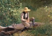 Straw Hat Posters - The Whittling Boy Poster by Winslow Homer