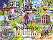 Alabama Drawings Prints - The Who What and Where of Athens Alabama Print by Shawn Doughty