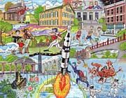 Alabama Drawings Prints - The Who What and Where of Huntsville Alabama Print by Shawn Doughty