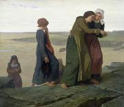 Children At Beach Prints - The Widow Print by Evariste Vital Luminais
