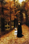 Fall Leaves Painting Prints - The Widow Print by Horace de Callias