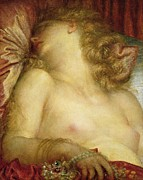 Pillow Framed Prints - The Wife of Plutus Framed Print by George Frederic Watts