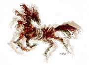 Horse Drawing Mixed Media Prints - The wild one Print by Mimo Krouzian