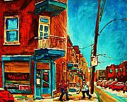 Quebec Streets Painting Posters - The Wilensky Doorway Poster by Carole Spandau