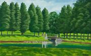 Pond In Park Painting Prints - The Willow Path Print by Charlotte Blanchard
