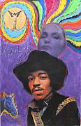 Jimi Hendrix Pastels Prints - The wind cries Mary Print by Mike  Mitch