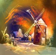 Spain Mixed Media Framed Prints - The Windmills del Quixote 01 Framed Print by Miki De Goodaboom