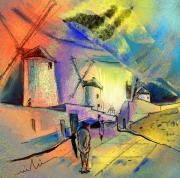 Spain Mixed Media - The Windmills del Quixote 02 by Miki De Goodaboom