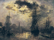 Boats In Harbor Metal Prints - The Windmills in Rotterdam Metal Print by Johan Barthold Jongkind
