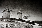 Mykonos Posters - The windmills of Mykonos 2 Poster by Laura Melis