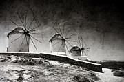 The Windmills Of Mykonos 2 Print by Laura Melis
