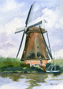Netherlands Paintings - The Windmills of Your Mind by Marsha Elliott