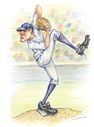 Pitcher Drawings Metal Prints - The Windup Metal Print by Michael Scholl