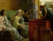 Chatting Painting Metal Prints - The Wine Shop Metal Print by Sir Lawrence Alma-Tadema