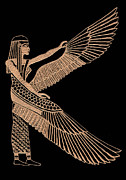Etching Glass Art Prints - The Winged Isis Print by Jim Ross