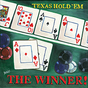 Playing Cards Painting Posters - The Winner Poster by Debbie DeWitt
